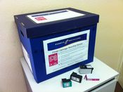 Archive box with downloaded sticker on for printer Cartridges